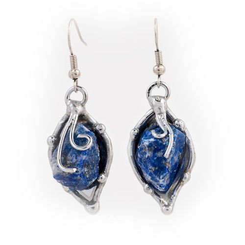 Alpaca Silver and Blue Quartz Earrings From Brazil