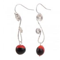 Red and Black Huayruro Seed Dangle Earrings