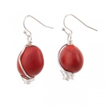 Huayruro Seed and Sterling Silver Drop Earrings