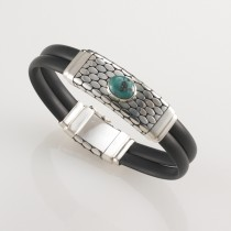 Black Rubber, Sterling Silver and Turquoise Bracelet