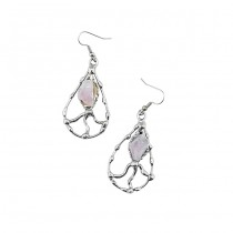 Alpaca Silver and Rose Quartz Earrings From Brazil