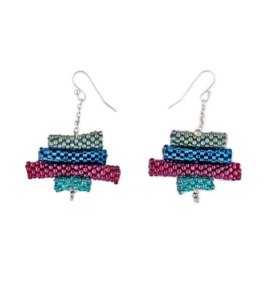 Multicolored Glass Bead Earrings