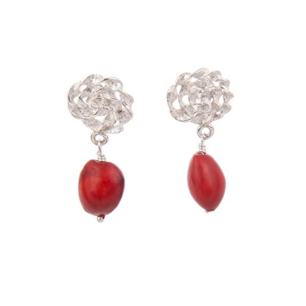 Huayruro Seed and Sterling Silver Drop Earrings