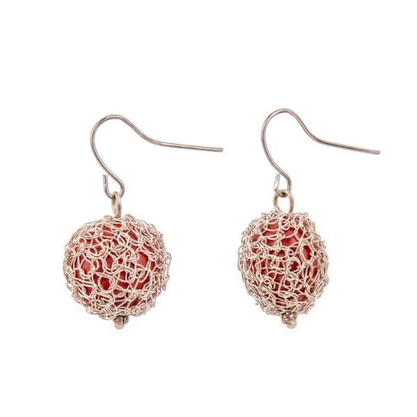 Crocheted Silver and Huayruro Seed Drop Earrings
