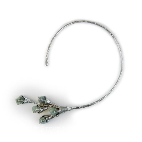 Alpaca Silver and Aquamarine Necklace From Brazil