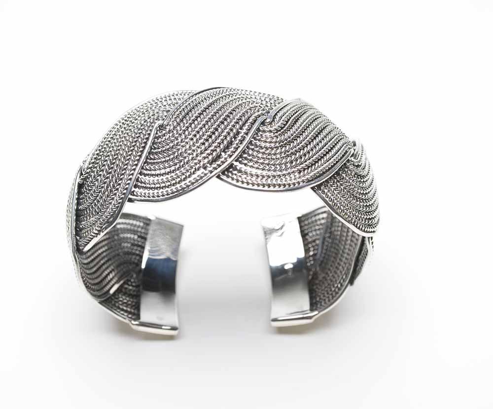 Braided silver cuff