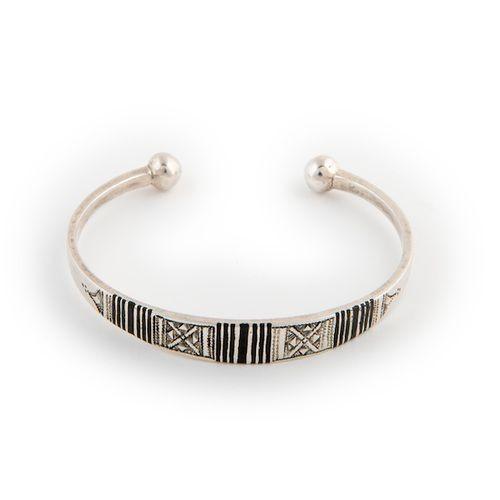 Silver Bracelet with Ebony Trim