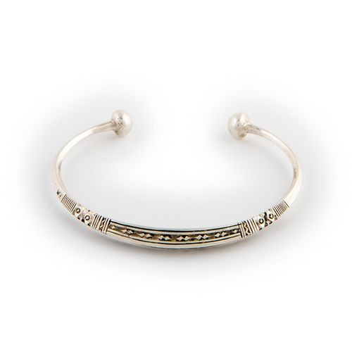 Engraved Silver Bracelet with Ball Ends