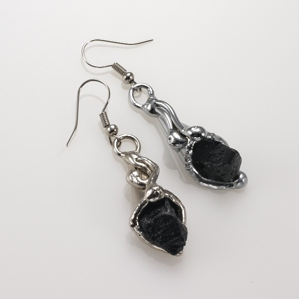 Alpaca Silver and Onyx Earrings From Brazil