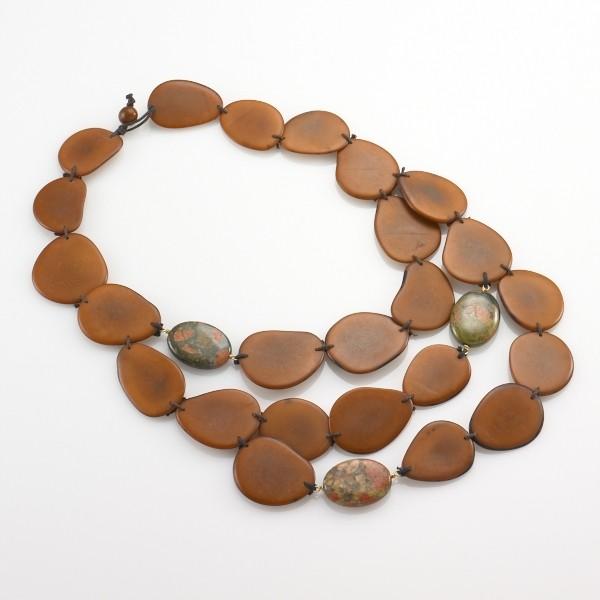 Vegetable Ivory & Stone Bib Necklace