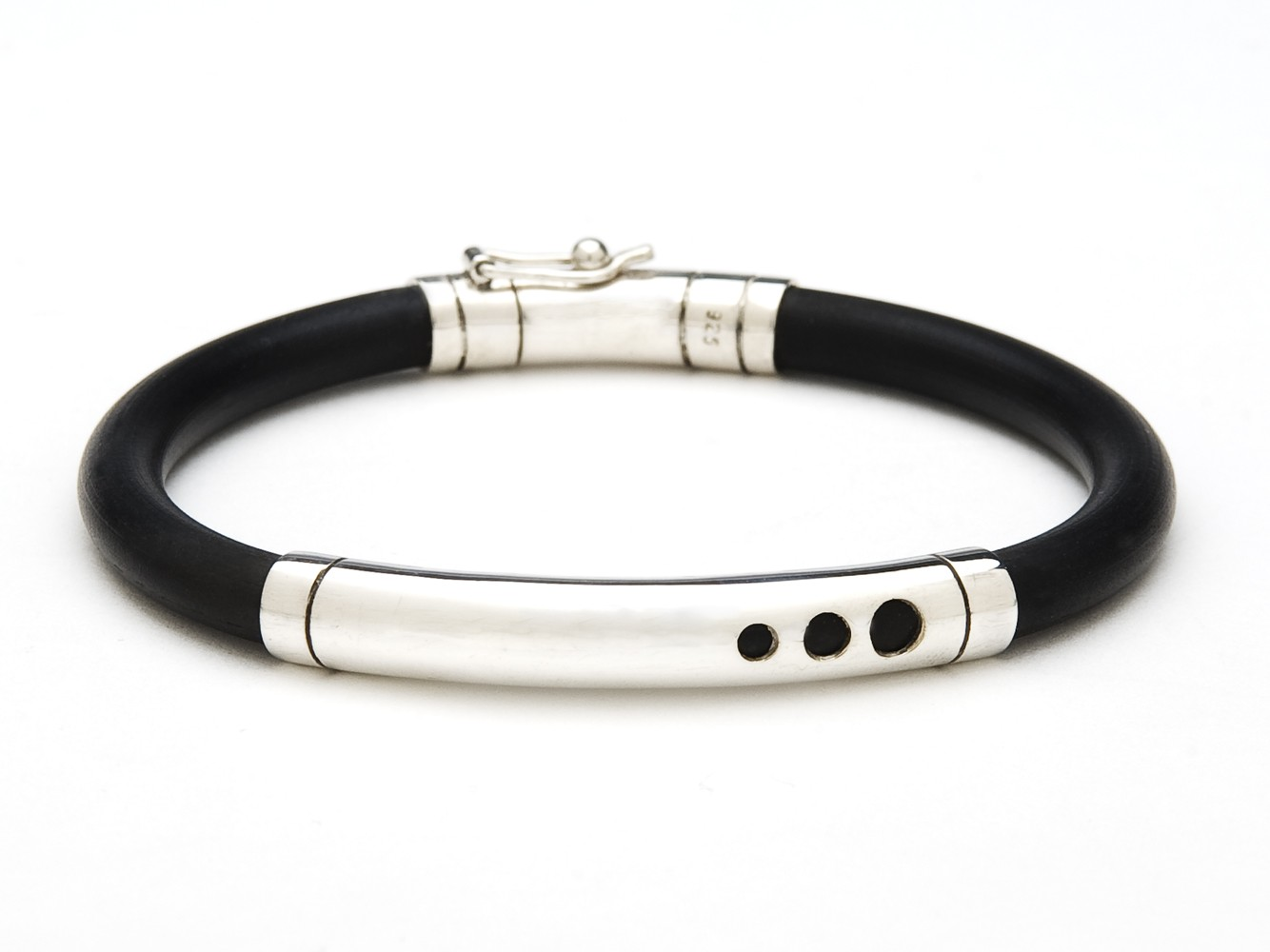 Rubber and Silver Bracelet From Indonesia