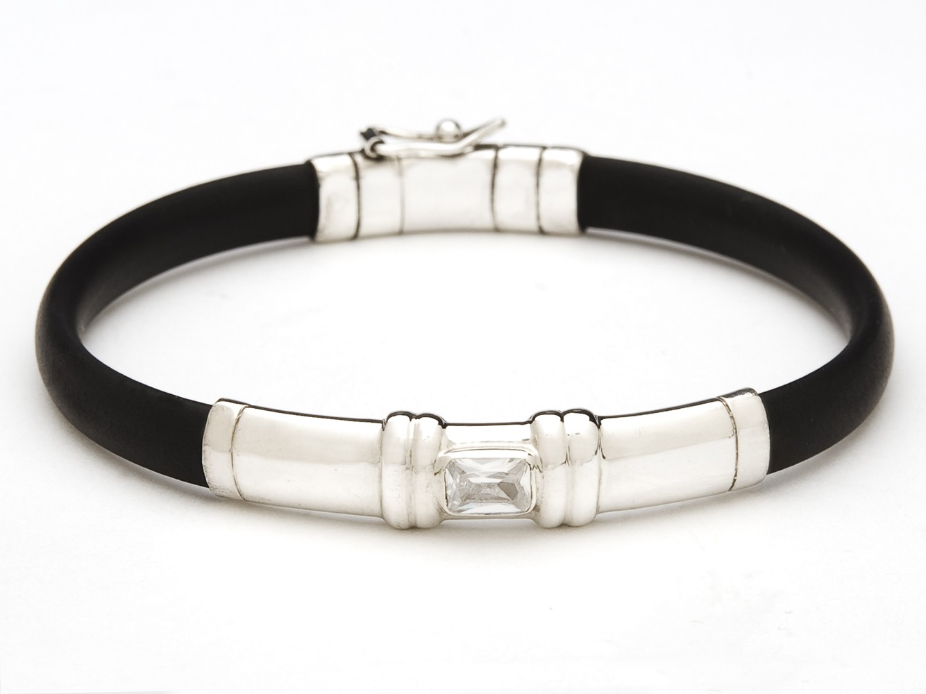 Black Rubber, Sterling Silver and Cubic Zirconia Bracelet