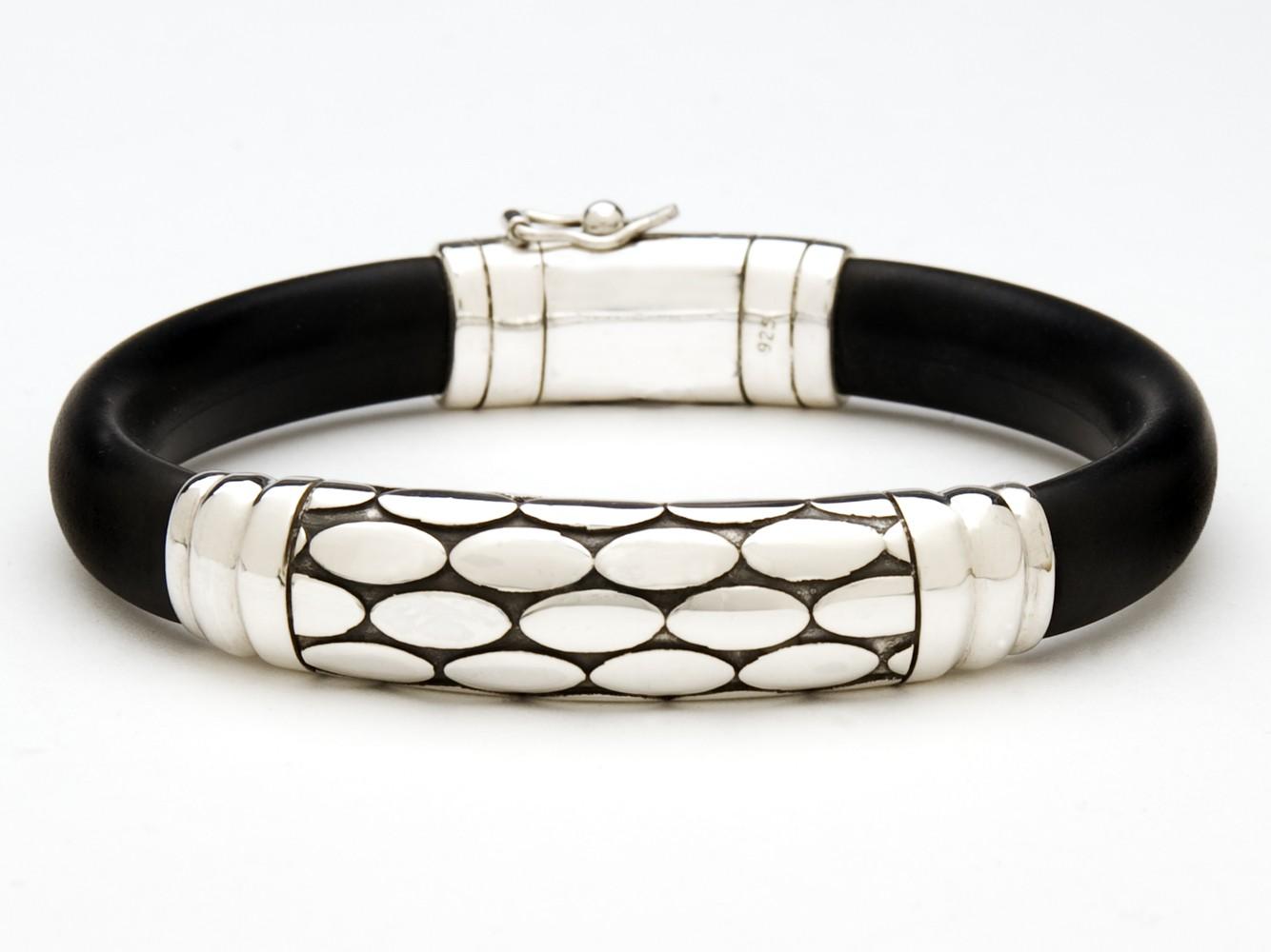 Black Rubber and Sterling Silver Bracelet