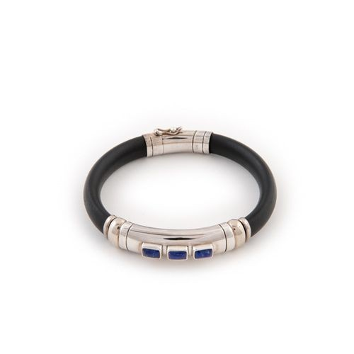 Rubber, Silver and Lapis Bracelet from Indonesia