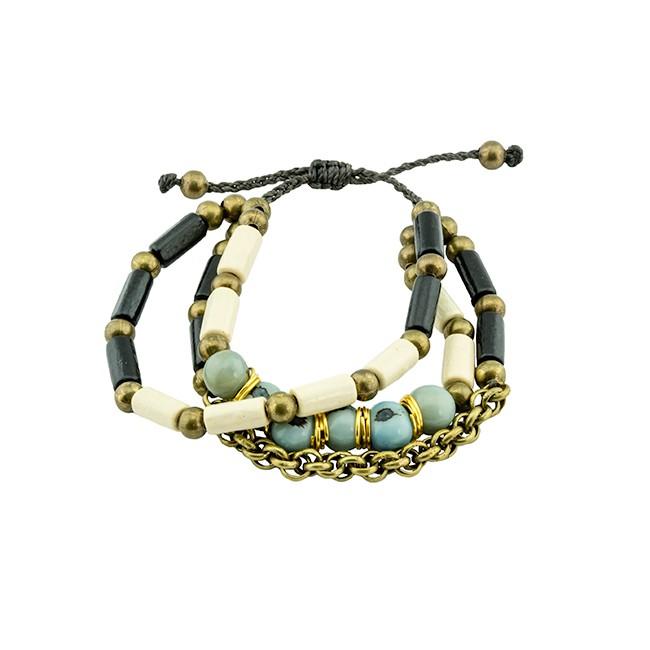 Acai Seed & Wood Bead Bracelet From Ecuador