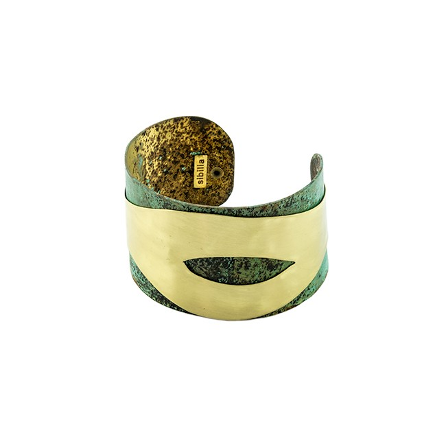 Brass on Oxidized Brass Cuff From Argentina