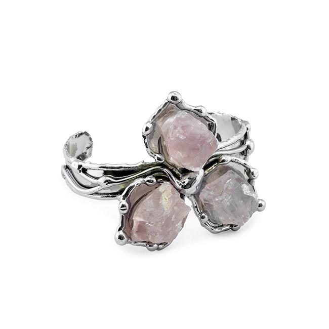 Alpaca Silver and Rose Quartz Bracelet from Brazil