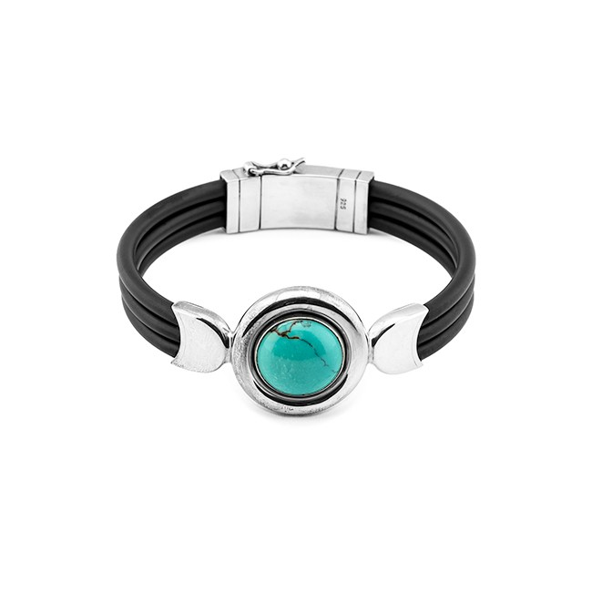 Rubber, Silver & Turquoise Bracelet From Indonesia