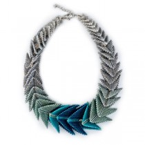 Silver and Teal Glass Bead Necklace