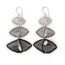 Silver and Black Glass Bead Earrings
