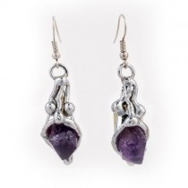 Alpaca Silver and Amethyst Earrings From Brazil