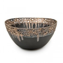 Bronze & Brown Stoneware Bowl