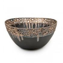 Bronze & Brown Stoneware Bowl