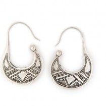 Engraved Silver U-Shaped Earrings