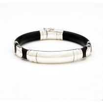 Black Rubber and Sterling Silver Bracelet