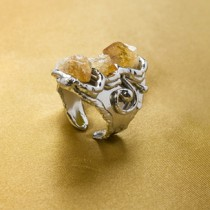 Alpaca Silver and Citrine Ring From Brazil