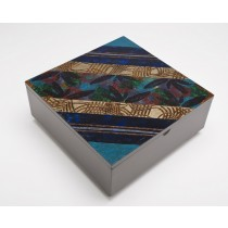 Hand-painted Square Wood Box From Brazil