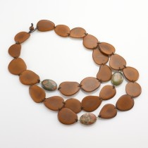 Vegetable Ivory & Stone Bib Necklace