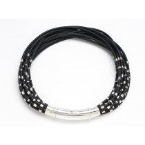 Multi-strand Black Rubber and Sterling Silver Necklace