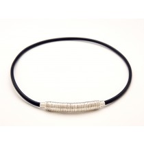 Black Rubber and Sterlling Silver Necklace
