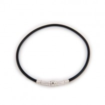 Black Rubber and Sterling Silver Necklace