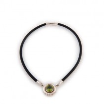 Rubber, Silver & Peridot Necklace From Indonesia