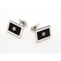 Sterling Silver and Black Rubber Cufflinks