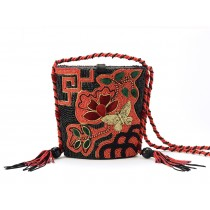 Black and Red Beaded Evening Shoulder Bag