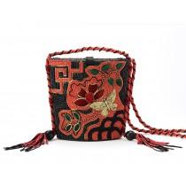 Black and Red Beaded Evening Shoulder Bag