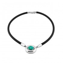 Rubber, Silver & Turquoise Necklace From Indonesia